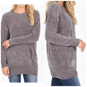 Oversized chenille sweater frost gray S,M, L, XL